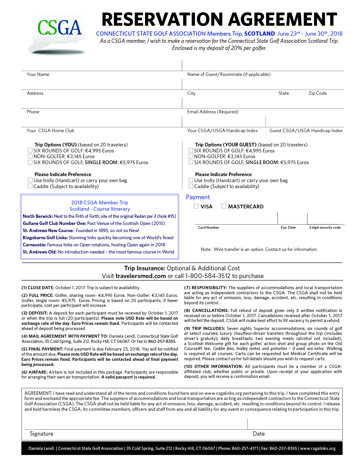 Connecticut Scotland 2018 Reservation Agreement